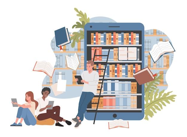 Online bibliotheek vector vlakke afbeelding mensen in de buurt van smartphone met bibliotheek