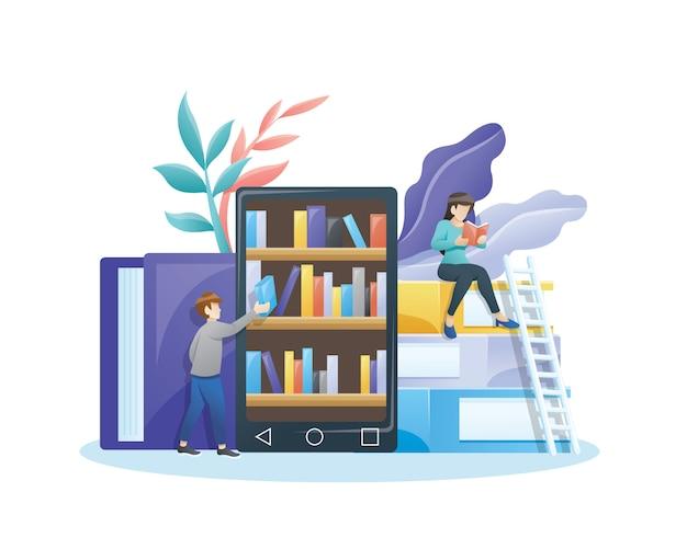 Online bibliotheekconcept.