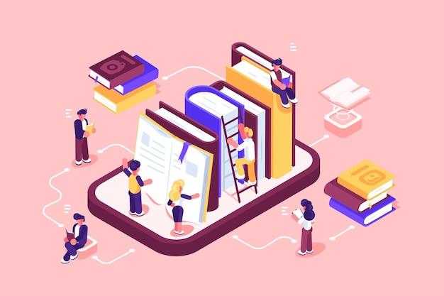 Online bibliotheekmedia en boekenillustratie