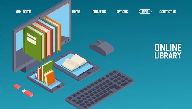 Online bibliotheekwebsiteontwerp, boeken lezen op computer, telefoon, tablet