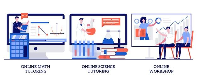 Online bijles in wiskunde en natuurwetenschappen, online workshopconcept met kleine mensen. gepersonaliseerde leren illustratie set. thuisonderwijs, educatief platform, videolessen, masterclass-metafoor.