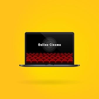 Online bioscoop. film kijken op laptop.