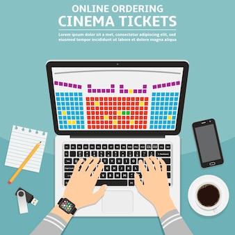 Online bioscoopkaartje bestellen platte ontwerp illustratie