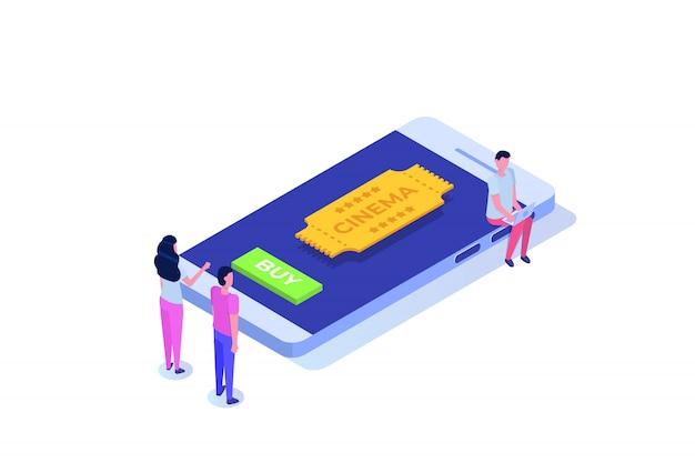 Online bioscoopkaartjes die isometrisch concept boeken. mobiele app. illustratie