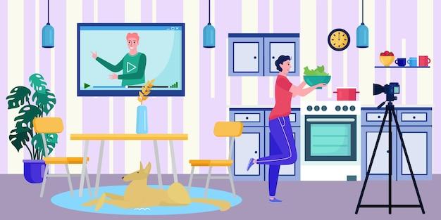 Online blogger video op scherm, vectorillustratie. vrouw karakter kijken internet digitale blog op tv-technologie, vrouwelijke streaming koken. social media-educatie voor mensen, kanaal over eten.