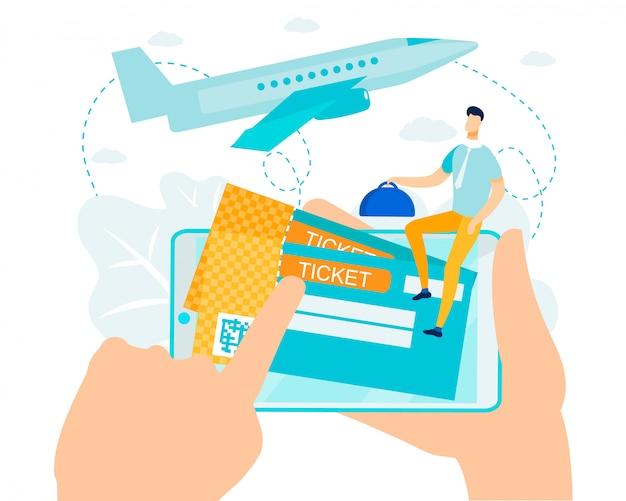 Online boeken en betalen voor vliegticketmetafoor