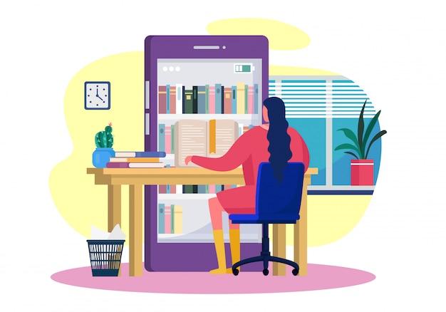 Online boeken lezen, illustratie. smartphone bibliotheek applicatie, boekenplanken in scherm. meisje karakter leren