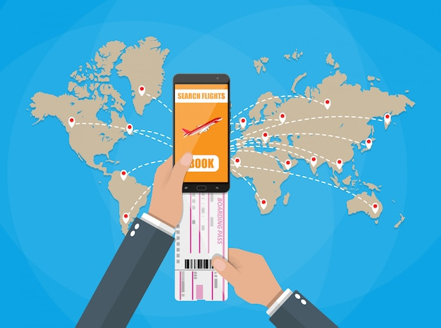 Online boeken voor vliegtickets, wereldkaart