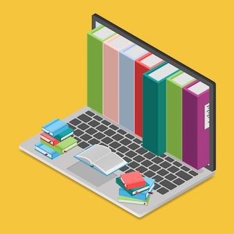 Online boekenwinkel in isometrische weergave,