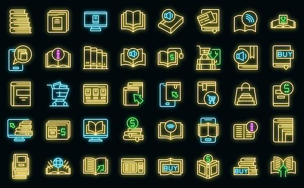 Online boekhandel pictogrammen instellen overzicht vector. open boek tijdschrift. auteur bibliotheek
