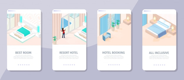 Online boeking beste kamer resort hotet illustratie