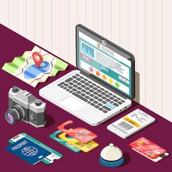 Online boeking isometrisch ontwerpconcept