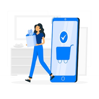 Online boodschappen concept illustratie