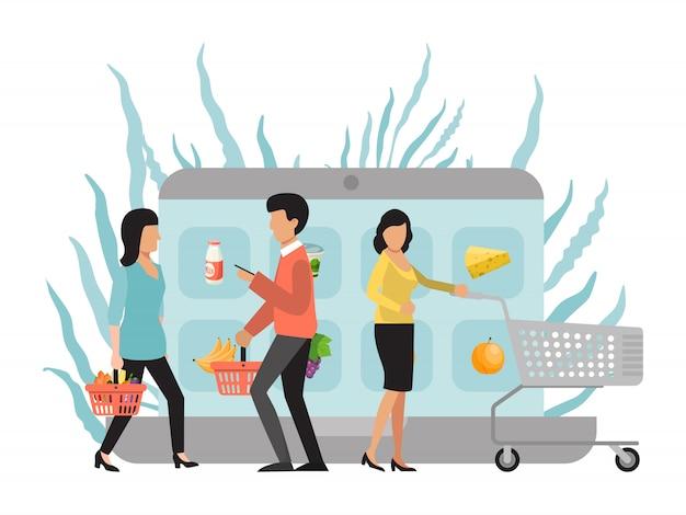 Online boodschappen doen en bezorgen. klant koopt voedsel op de markt via internet. kopers met trolleys die producten kopen in de mobiele app