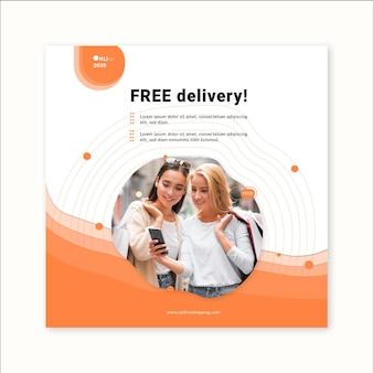 Online boodschappenservice vierkante flyer-sjabloon