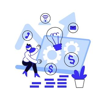 Online business abstract concept vectorillustratie. zakelijke mogelijkheid, online opstarten, e-commerceplatform, internetmarketing, verkoop via sociale media, promotie, abstracte metafoor van digitaal bureau.