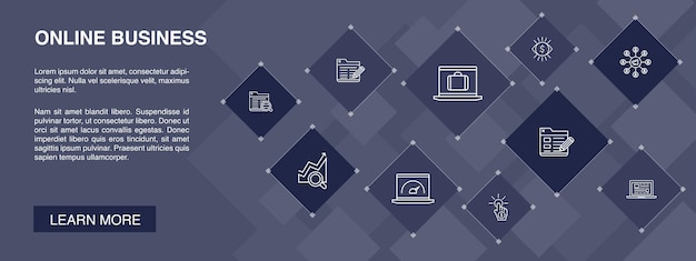 Online business banner 10 pictogrammen concept.pay per view, bandbreedte, bestemmingspagina, seo eenvoudige pictogrammen