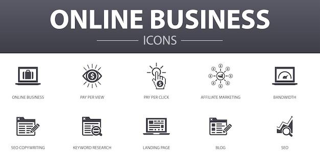 Online business eenvoudig concept pictogrammen instellen. bevat pictogrammen als pay-per-view, bandbreedte, bestemmingspagina, seo en meer, kan worden gebruikt voor web, logo, ui/ux