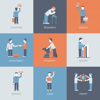 Online business winkelen mensen cijfers situaties icon set.
