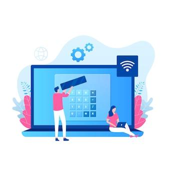Online calculator illustratie concept.