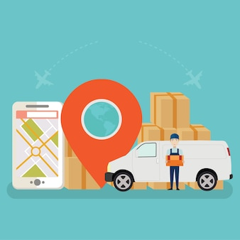 Online cargo tracking delivery application tiny people character