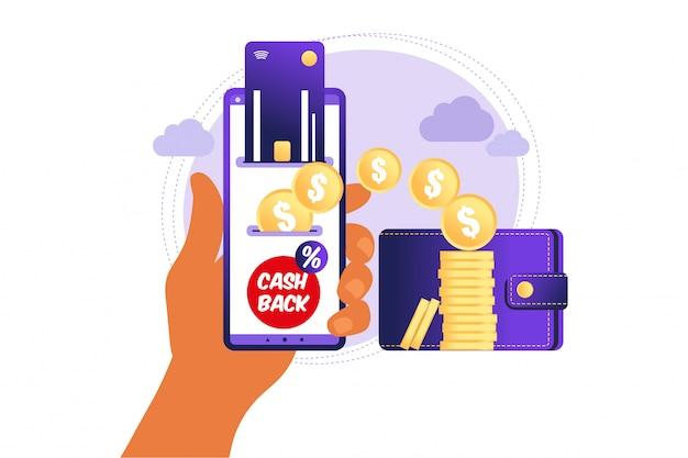 Online cashback-concept. munten of geldoverdracht van smartphone naar e-wallet.