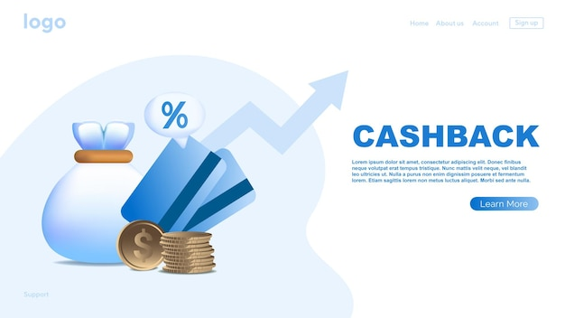 Online cashback-concept online bankieren geld besparen bestemmingspaginasjabloon voor webbanner
