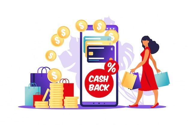 Online cashback-concept. vrouw met boodschappentassen en smartphone met creditcard erop.