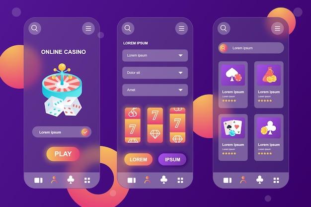 Online casino glasmorfe ontwerpset met neumorfische elementen voor mobiele app ui ux gui-schermen