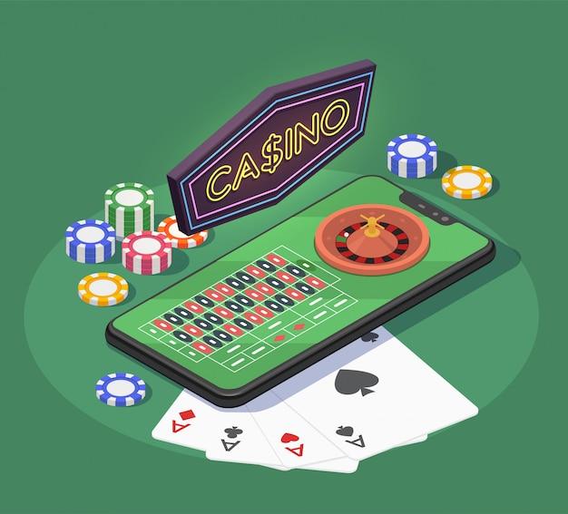Online casino isometrische samenstelling met smartphonekaarten en spaanders voor het gokken van spelen op groene 3d achtergrond