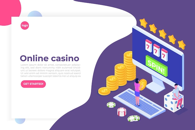 Online casino, online gokken, isometrische illustratie van gaming-apps