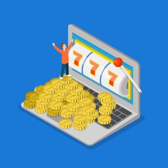 Online casino plat 3d isometrisch geluk succes gokken vector concept micro mensen en enorme laptop