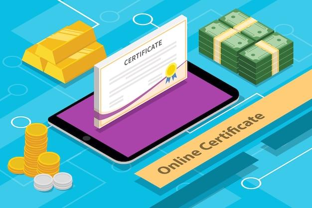 Online certificatieconcept isometrische 3d