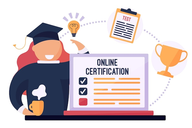 Online certificering met afgestudeerde en trophee