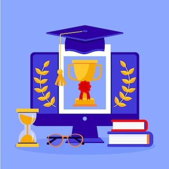 Online certificering op het scherm geïllustreerd