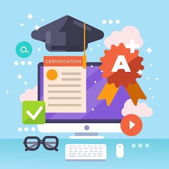 Online certificeringsconcept Gratis Vector