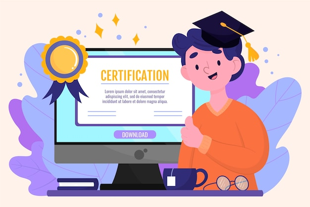 Online certificeringsconcept Premium Vector