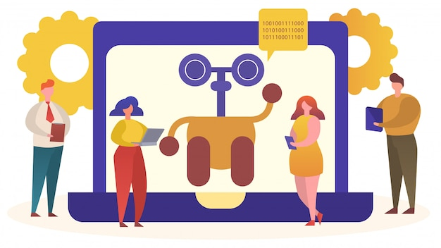 Online chat bot helper ondersteuning concept illustratie, stripfiguur robot op computerscherm adviseren behandeling met behulp van videochat app
