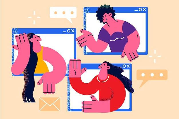 Online chat en stream evenement concept. groep jonge glimlachende vrouwen die online praten tijdens internetconferentie online vergadering bij pandemie en quarantaine vectorillustratie