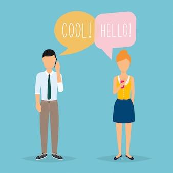 Online chat man en vrouw. paar chatten op een mobiele telefoon. cartoon man en vrouw. plat ontwerp.