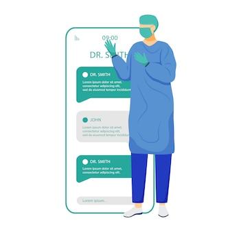 Online chat met het scherm van de chirurg-smartphone-app. consultatie op afstand. vraag medisch specialist. mobiele telefoon wordt weergegeven met stripfiguren. telegeneeskunde applicatie telefooninterface