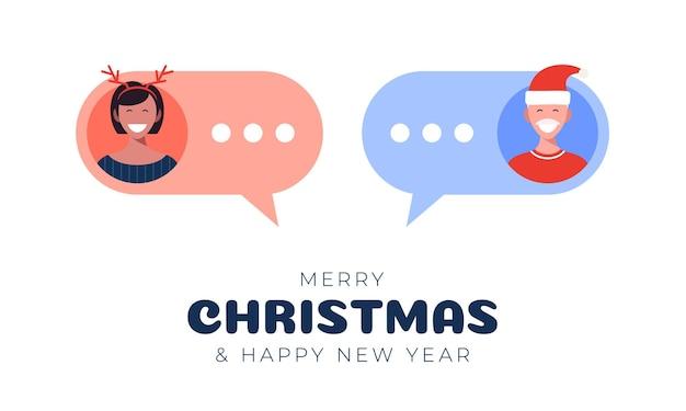 Online chat tussen een jongen en een meisje. man en vrouw pictogrammen in vlakke stijl op mobiele zeepbel. chatberichten communicatie. platte ontwerp, vectorillustratie