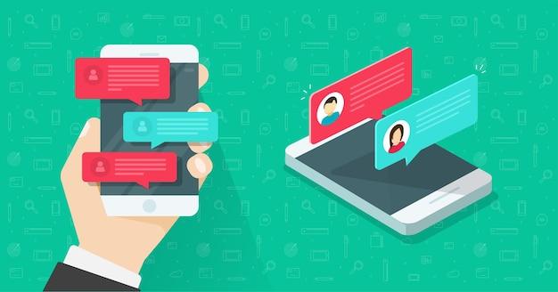 Online chatberichten tekstmeldingen op mobiele telefoon of sms-berichten op de hand van een persoon