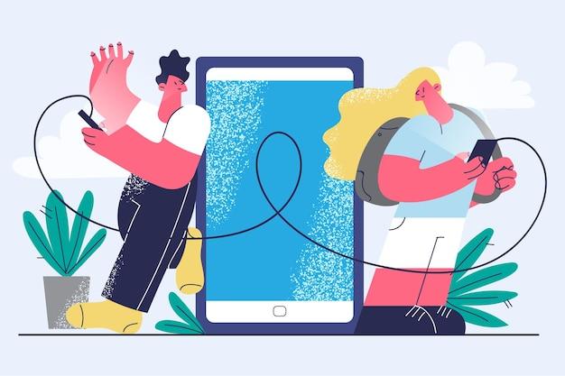 Online chatten, communicatie op afstand, technologieconcept
