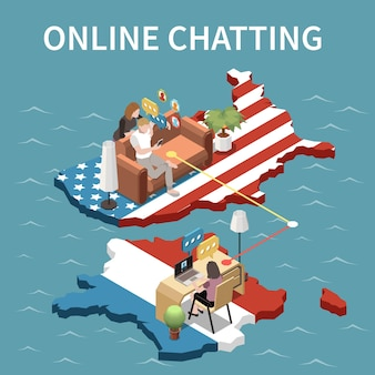 Online chatten tussen jongeren die in rusland en de vs wonen isometrische illustratie