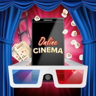 Online cinema banner vector. realistische slimme telefoon. blauw gordijn. theater. online bioscoop