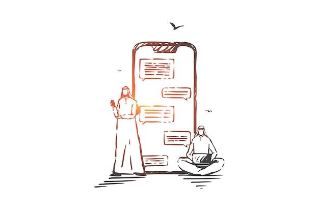 Online communicatie, chatten concept illustratie