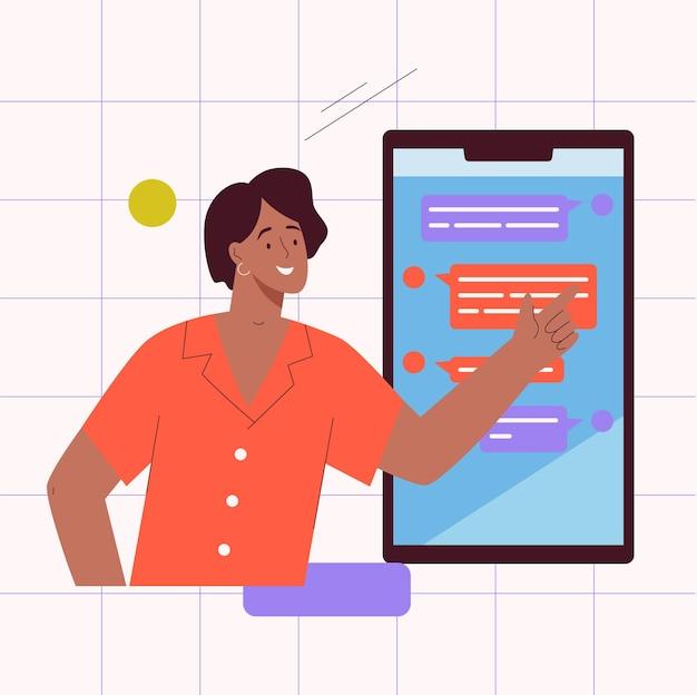 Online communicatie in messenger-concept