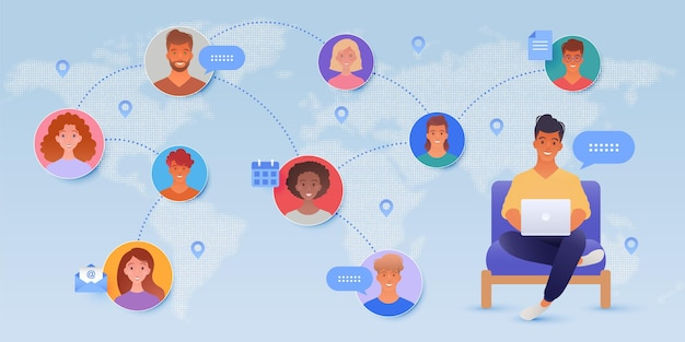 Online communicatie met een man die laptop en mensenpictogrammen op de achtergrond van de wereldkaart gebruikt