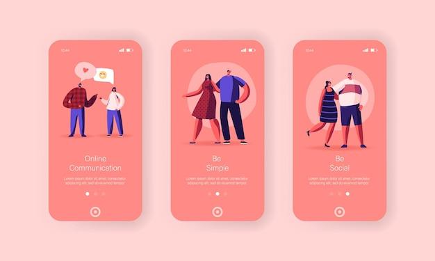 Online communicatie mobiele app-pagina onboard-schermsjabloon
